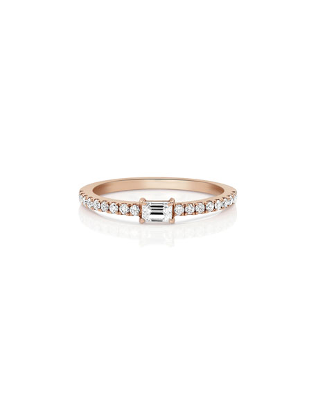 Single Baguette Diamond Stacking Ring in 18K Rose Gold