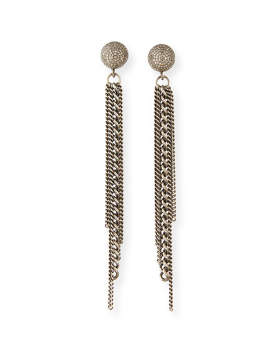 Diamond Dome Stud Chain Earrings