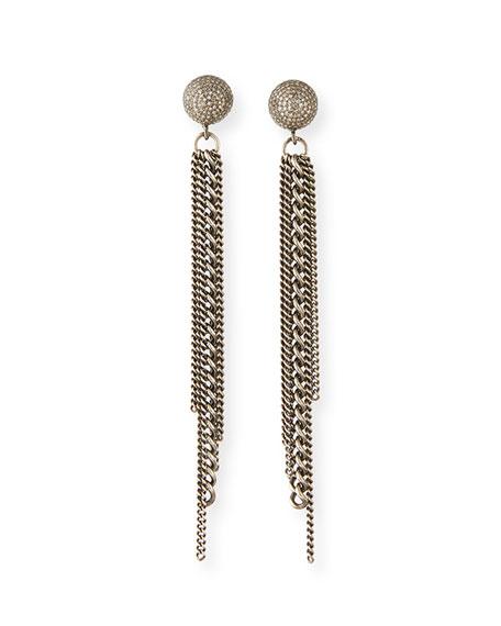 Diamond Dome Stud Chain Earrings