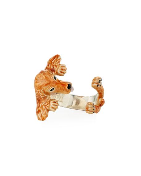 Dog Fever Cocker Spaniel Enameled Dog Hug Ring, Size 6