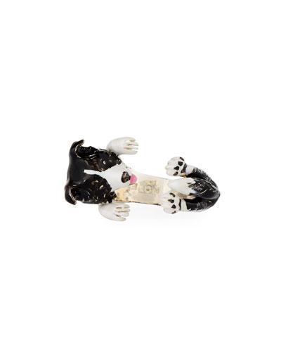 Border Collie Enameled Dog Hug Ring, Size 6