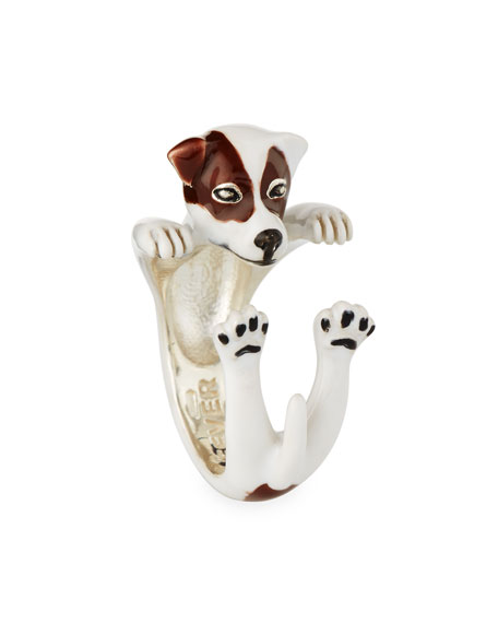 Jack Russell Terrier Enameled Dog Hug Ring, Size 6