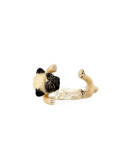 Pug Enameled Dog Hug Ring, Size 6