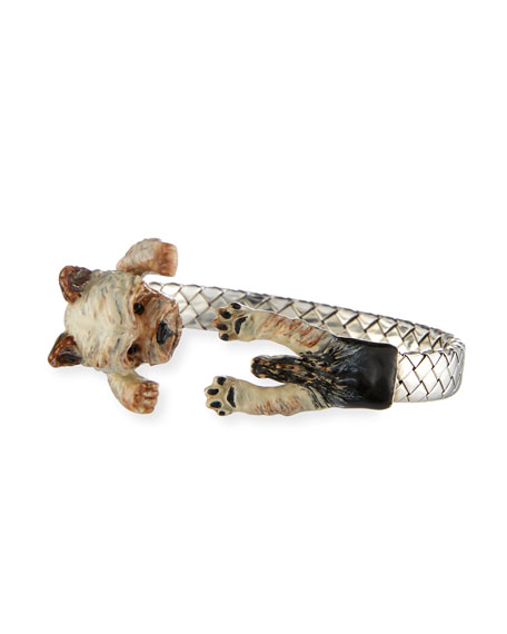 Yorkie Enameled Dog Hug Bracelet