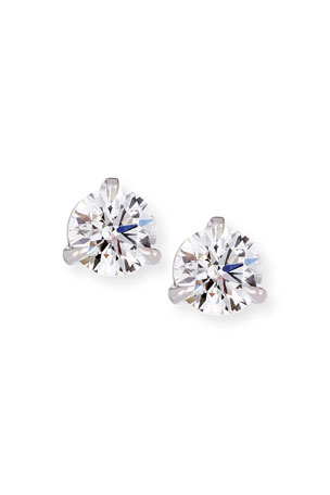 Memoire 18k White Gold Martini Diamond Stud Earrings, 0.51 tcw