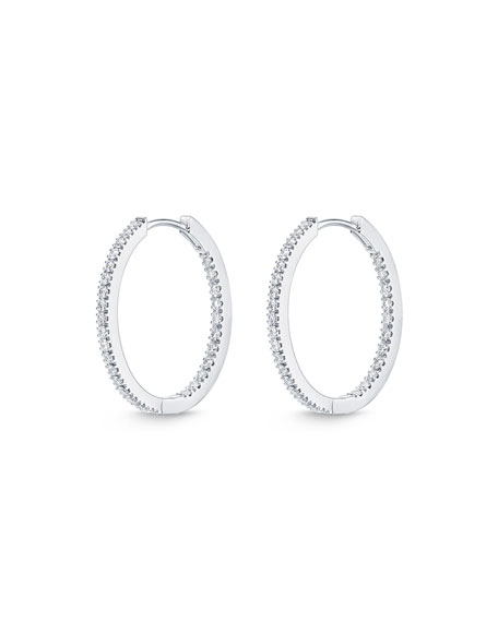 18k White Gold Oval Hoop Earrings