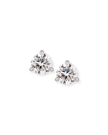 Memoire 18k White Gold Martini Diamond Stud Earrings, 0.88tcw