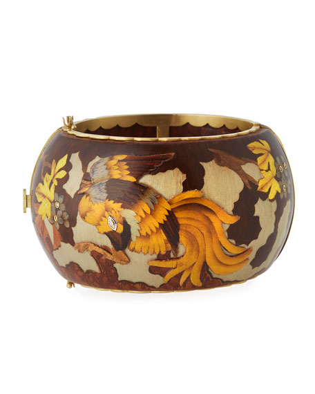 Marquetry Rooster Bangle Bracelet with Diamonds