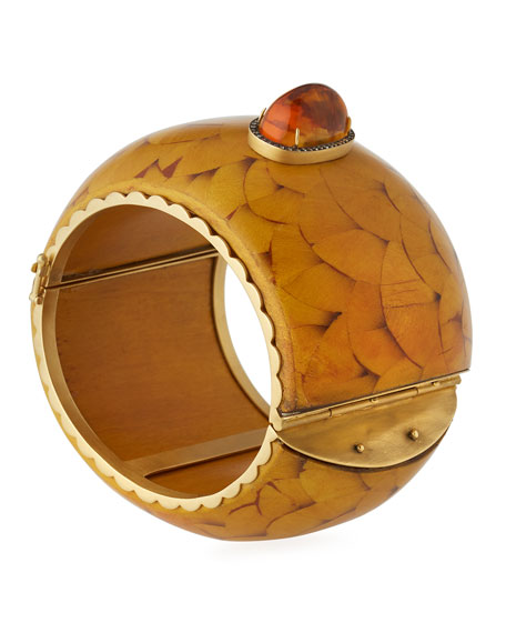 Marquetry Cuff Bracelet with Brown Diamonds & Citrine