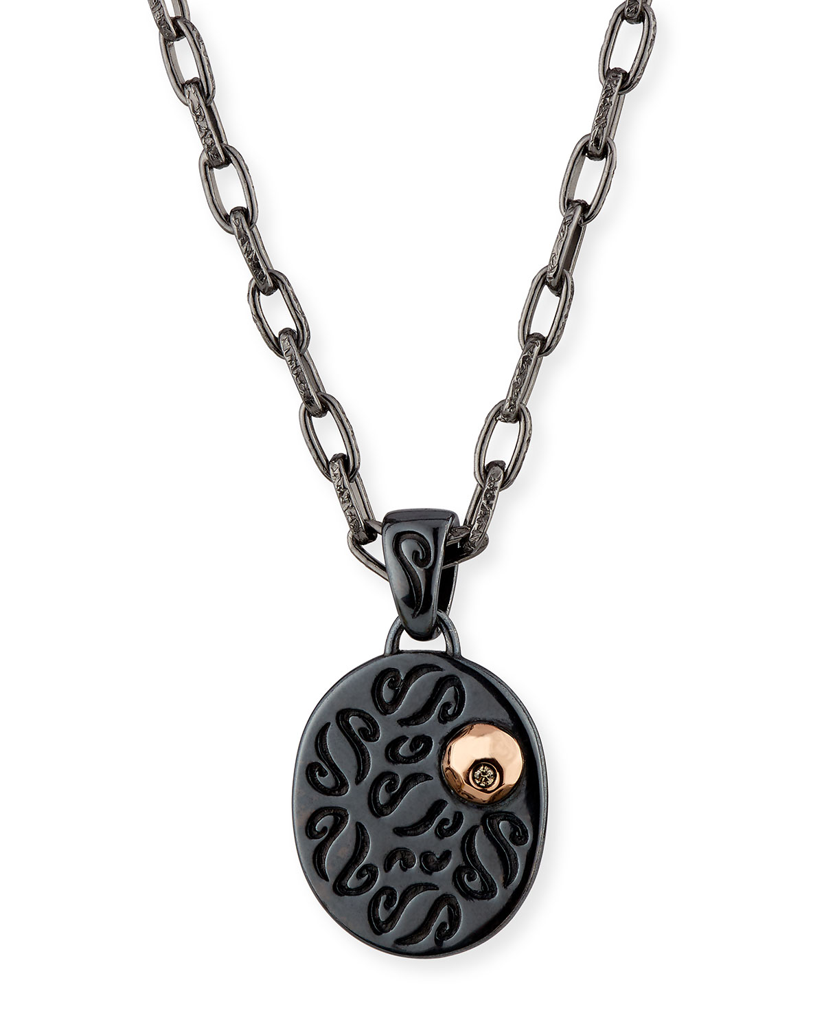Marco Dal Maso Ara Burnished Silver Pendant Necklace with 18K Rose Gold & Champagne Diamond QLVmxgSScw