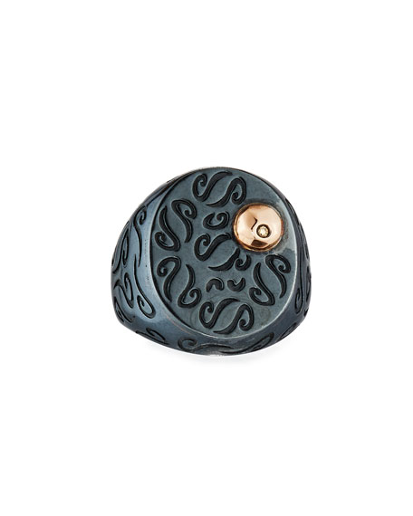 Ara Burnished Signet Ring with 18K Rose Gold & Diamond Detail, Size 10