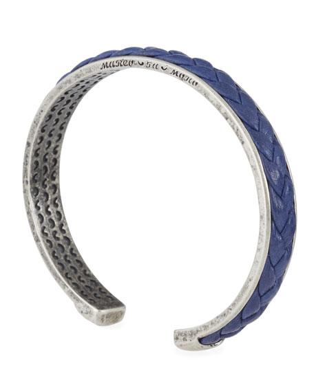 Braided Leather Bracelet, Blue