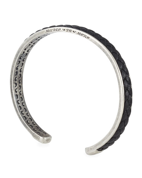 Braided Leather & Sterling Silver Cuff Bracelet