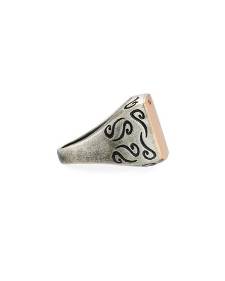 Ara Large Square Oxidized Silver & 18K Rose Gold Ring, Size 10