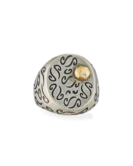 Ara Carved Signet Ring with 18K Gold & Diamond Detail, Size 9.5