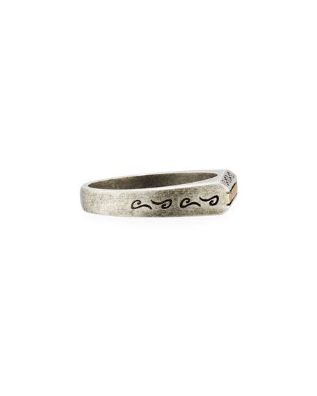 Ara Oxidized Silver & 18K Ring with Champagne Diamond, Size 10