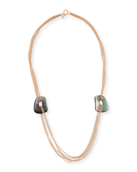 Mattioli Puzzle Six-Strand Mother-of-Pearl Necklace in 18K Rose Gold Obc6E