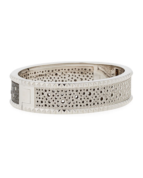 Roberto Coin ROCK & DIAMONDS Medium 18K White Gold Bangle Bracelet qTlyXG3aGX