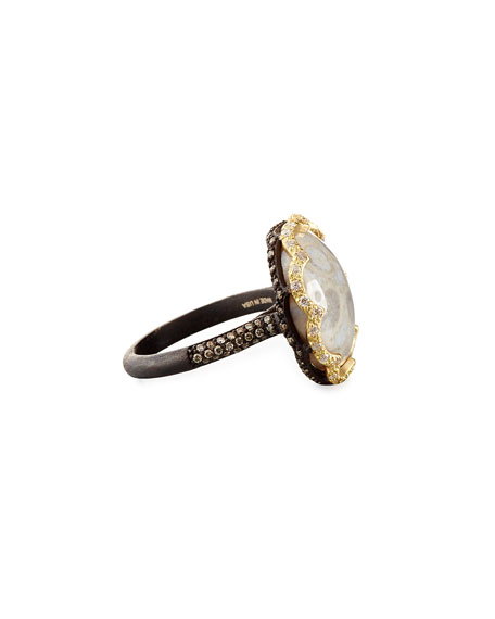 Old World Scalloped Fossilized Coral Ring with Diamonds