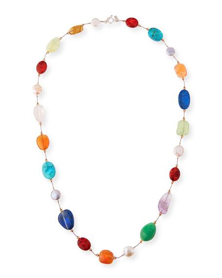 "Large Pearl & Swarovski Crystal Station Necklace, 35"""