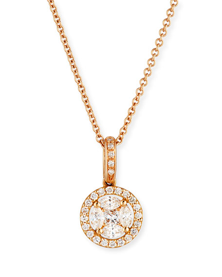 Zydo mosaic round diamond pendant necklace in 18k rose gold mozeypictures Image collections