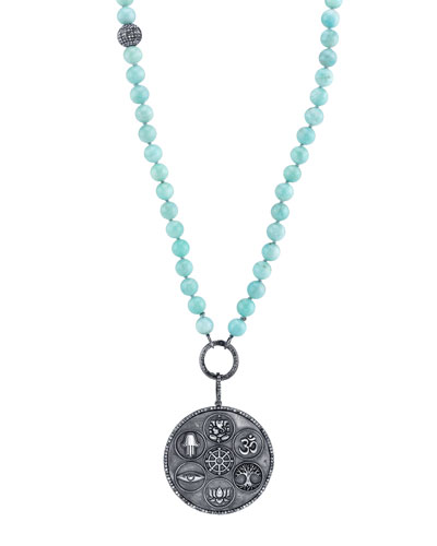 Amazonite Beaded Necklace with Multi-Symbol Spiritual Pendant, 43