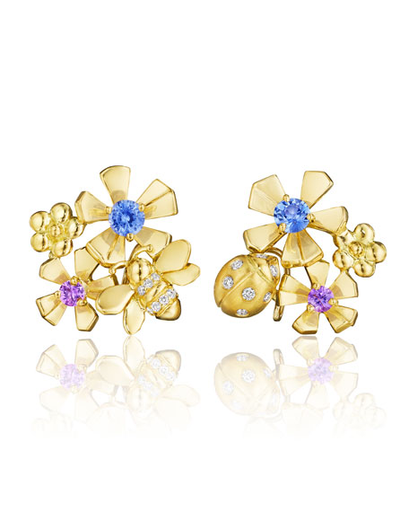 The Wonderland 18K Gold Earrings with Diamonds & Sapphires