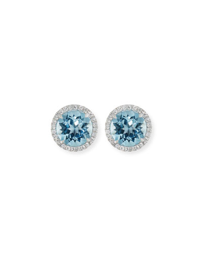 Small 18K White Gold Blue Topaz Diamond Halo Stud Earrings