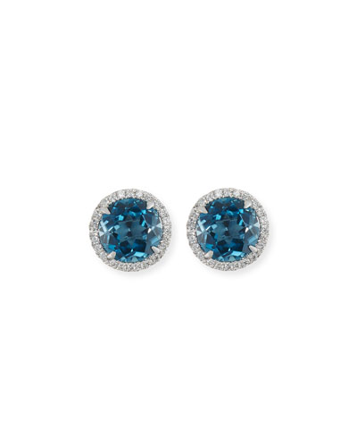 18K White Gold London Blue Topaz Diamond Halo Stud Earrings
