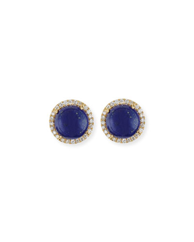 Cabo 18K Gold Lapis Cabochon & Diamond Halo Stud Earrings