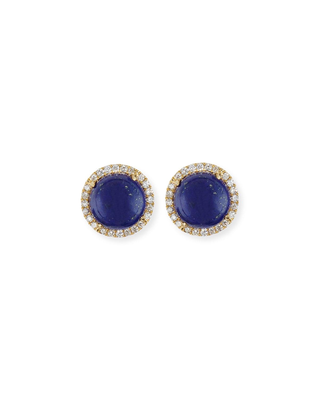 Frederic Sage Cabo 18K Gold Lapis Cabochon & Diamond Halo Stud Earrings nJYZue0Olt