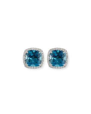 2182bac9c868 Frederic Sage 18K White Gold London Blue Topaz Diamond Halo Stud Earrings