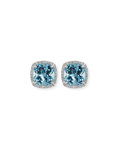 Image 1 of 1: 18K White Gold Blue Topaz Diamond Halo Stud Earrings