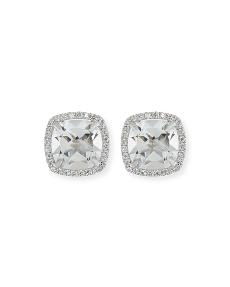18K White Gold White Topaz Diamond Halo Stud Earrings
