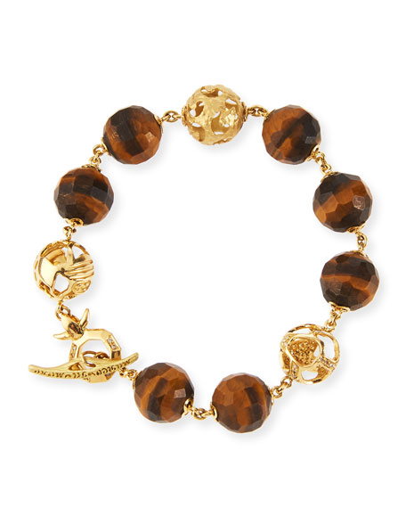 Marco Dal Maso Faceted Tiger's Eye Toggle Bracelet