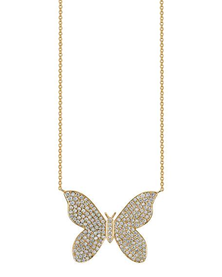 Sydney Evan Large Pave Diamond Butterfly Pendant Necklace