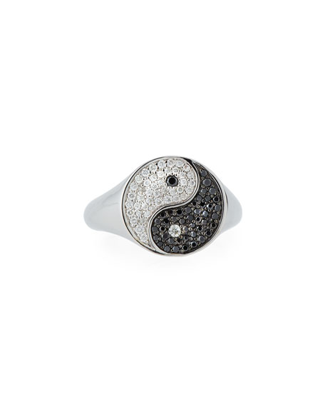 Yin Yang Ring with Black & White Diamonds, Size 6.5