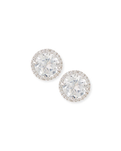 White Topaz & Diamond Stud Earrings