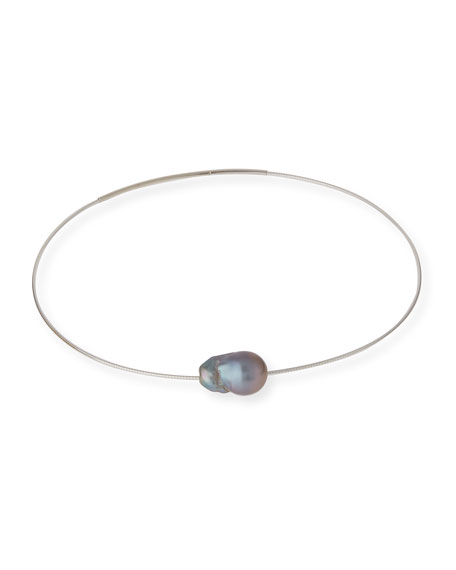 Gray Baroque Pearl Choker Necklace
