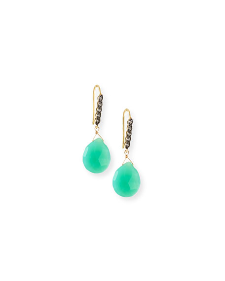 Chrysoprase & White Sapphire Drop Earrings