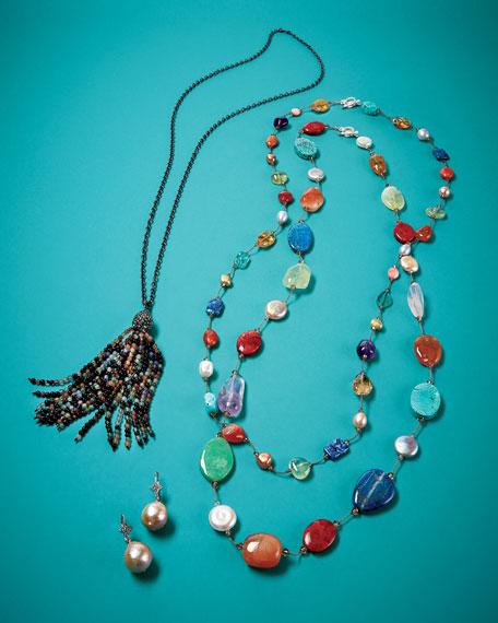 Rose Golden Baroque Pearl & White Sapphire Drop Earrings
