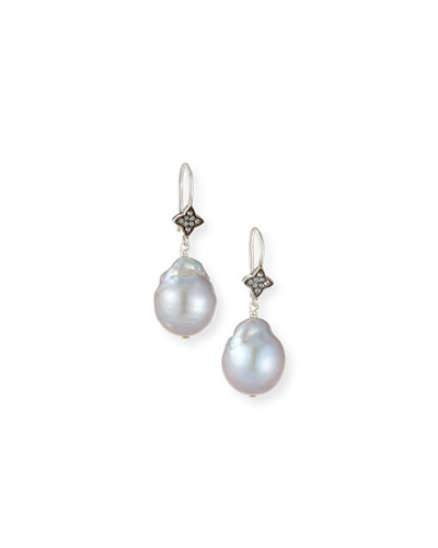 Gray Baroque Pearl & White Sapphire Earrings