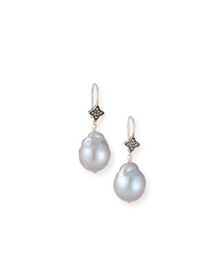 Gray Baroque Pearl & White Sapphire Earrings