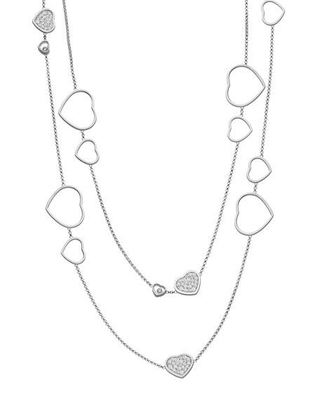Chopard Happy Hearts 18k White Gold Diamond Long Station Necklace