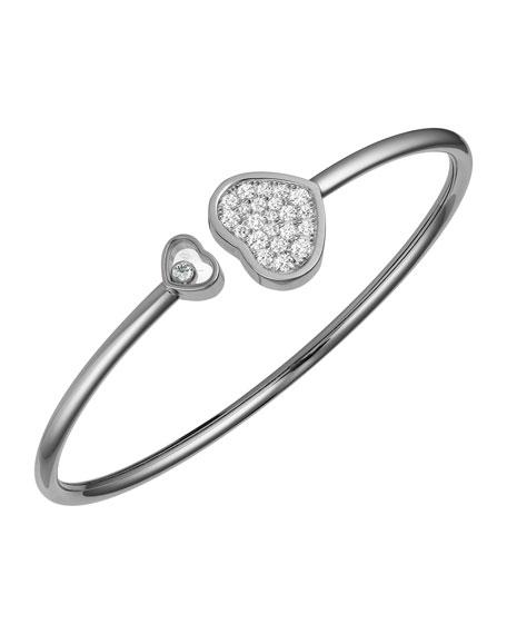 Chopard Happy Hearts 18k White Gold Pave Diamond Bangle Bracelet