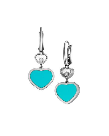 Chopard Happy Hearts 18k Turquoise & Diamond Drop Earrings