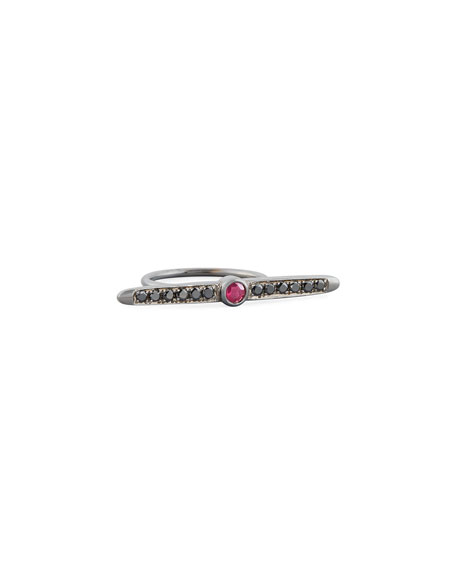 Meredith Marks Ruby & Black Diamond Bar Ring,