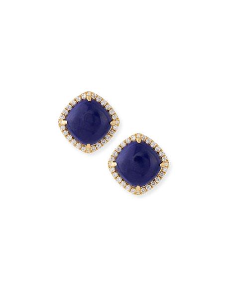 18K Gold Lapis & Diamond Stud Earrings