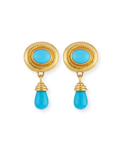 Convertible Turquoise Godron Earrings with Detachable Briolette Drop