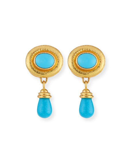 Convertible Turquoise Godron Earrings with Detachable Briolette Drop